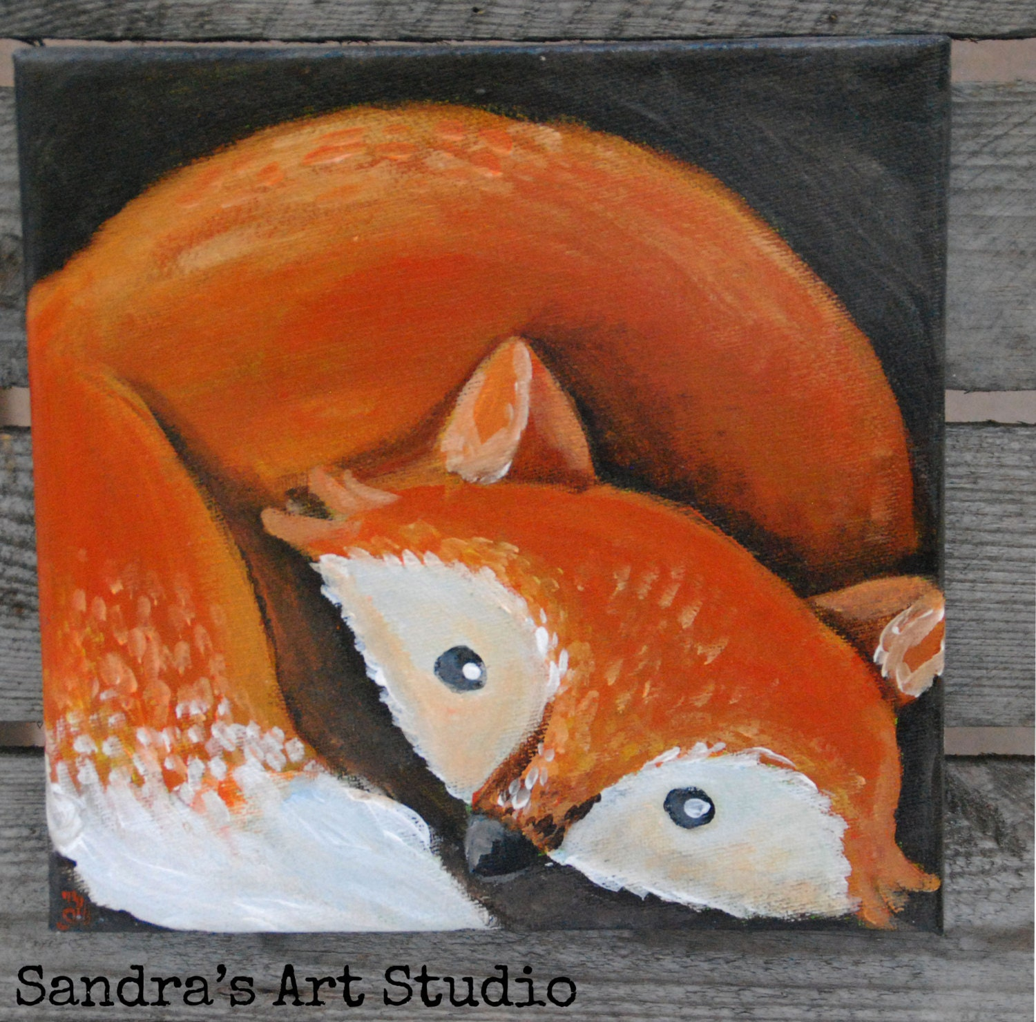 Kids Art Painting Of A Little Fox Made With Acrylic Paint On Canvas Size 7 8 X Great For Bedroom Or Nursery