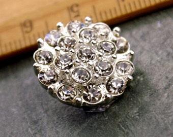 5 Rhinestone Button Silver Crystal Button Sparking Button FA53
