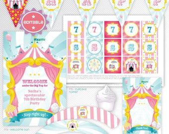 Carnival / circus - pink editable printable party decoration package - INSTANT DOWNLOAD - A4 & LETTER