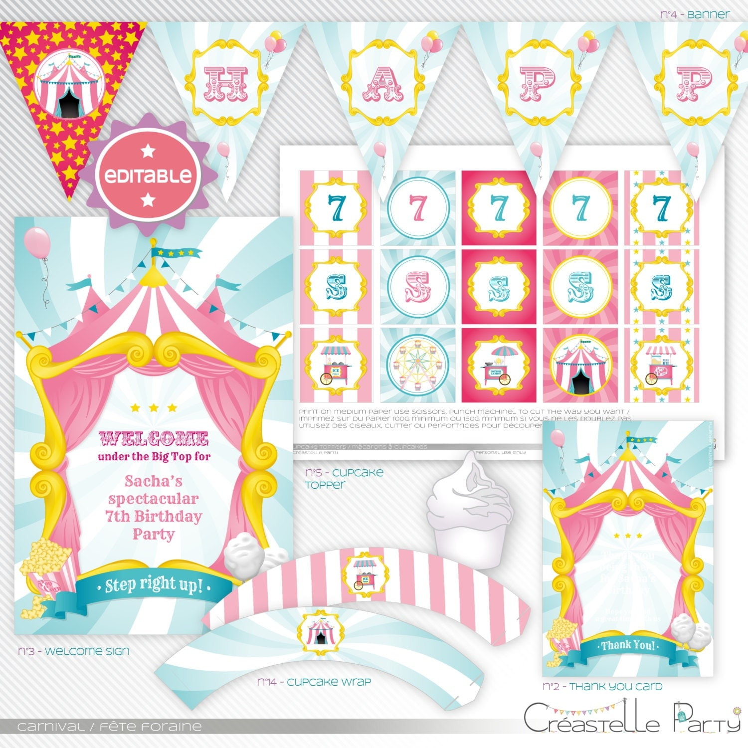 Carnival / circus pink editable printable party decoration