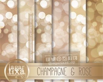 Bokeh Texture, Champagne, Rose, Vanilla, Vintage Gold, Beige, Digital Paper, Patterns, New Year's Eve, Elegant Party, Blog Background