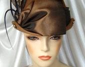 Brown Wool Victorian Hat, Steampunk Edwardian Hat, Mr. Selfridge and Downton Abbey Inspired