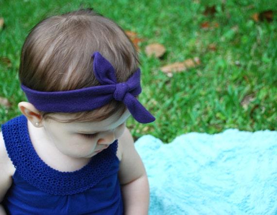 SALE Purple Baby Knot Headband - Peach Baby Top Knot Headband - Purple Stretch Headband - Purple Knit Headband - Purple Headwrap - Headband