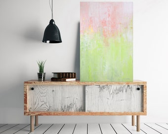SALE!! Original abstract pastel colors painting, green and pink wall art, gift for her abstract painting, gold abstract painting