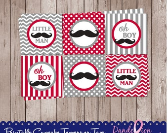Gray Red Black Mustache Baby Boy Shower Digital Cupcake Toppers Favor Tags