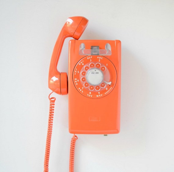 vintage rotary wall phone orange rotary dial wall mount. Black Bedroom Furniture Sets. Home Design Ideas