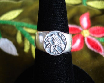 Bird and Berries Signet Ring Sterling Silver