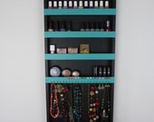 Makeup & jewelry organizer - display - nail polish rack - beauty station -bathroom storage - wall hanging - handmade - rangement maquillage