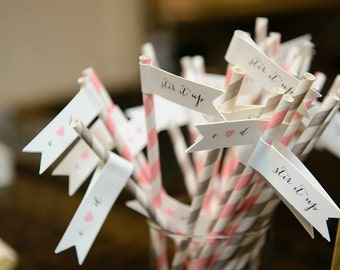 Straw Flags, Personalize, bridal shower, baby shower, engagement party, weddings