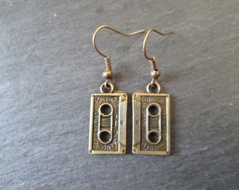 Bronze Cassette Tape Earrings, Throwback to the Mixtape