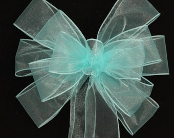 Aqua Sheer Wedding Pew Bows - Church Pew Decorations, Wedding Aisle Decorations, Wedding Ceremony Bow, Wedding Chair Bows