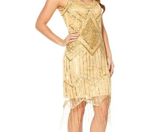 UK18 US14 AUS18 Isobel Gold Vintage inspired 1920s Flapper Great Gatsby Charleston Wedding Bridesmaid Rehearsal Dinner Dress New Hand Made