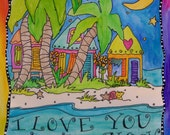 5x7 Love You To The Moon Wooden Postcard