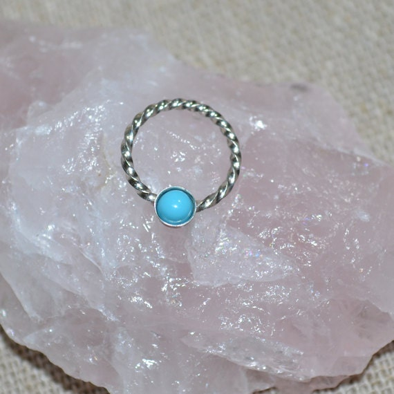 Turquoise Nipple Ring - Silver Septum Ring - Tragus Piercing - Septum Piercing - Nipple Jewelry - Conch Jewelry - Cartilage Ring 18 gauge