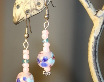 Pink and Blue lampwork beaded earrings