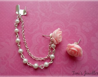 Imitation Pearls and Flower Ear Cuff - Earring Stud, Silver Plated - No Upper Ear Piercing Required