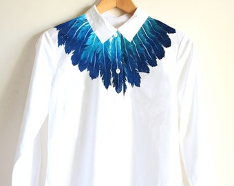 Handpainted  unique shirt Feathers art clothing gift for her gift for him