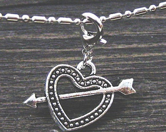 Dangle Silver Heart w/Arrow for Bracelets, Floating Charm Pendants, Necklaces & Keychains  D031