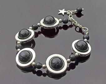 Planet Bracelet, Blue Goldstone Bracelet, Celestial Bracelet, Galaxy Bracelet, Very Dark Blue Bracelet, Valentine's Day gift