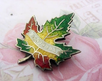 Montreal maple leaf brooch, Vintage silver brooch, Canadian leaf brooch, enamel maple leaf brooch, leaf jewellery