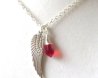 Angel Wing Red Awareness Loss Pendant Necklace