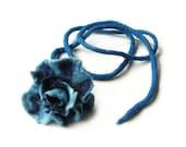 Felted necklace felt necklace felted flower flowers floral boho blue spring necklace OOAK