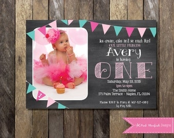PRINTABLE Chalkboard First Birthday Invitation with Picture - 1st Birthday Invite -  Pink Teal Girls Boys Birthday Party 4x6 or 5x7
