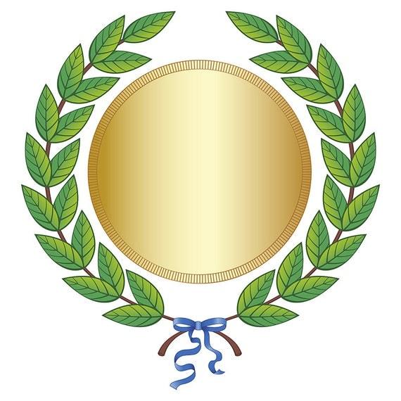 Digital Clipart Green Leaf Laurel Wreath Gold Medal Blue Silk Ribbon ...