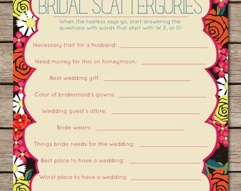 Fiesta Floral Scattergories Bridal Shower & Wedding Game