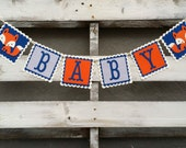 Navy Blue and Grey Chevron Fox Baby Banner, Woodland Fox Baby Banner,  Woodland Themed Banner, Baby Shower Decor, Baby Photo Prop,
