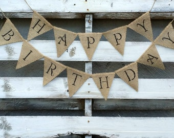 Happy Birthday Burlap Banner, Party Banner, Birthday Banner, Party Decor, Birthday Photo Prop