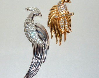 Pair of Gorgeous Vintage MONET Bird of Paradise Rhinestone Brooches