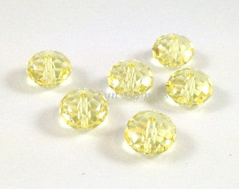 5040 JONQUIL 8mm Swarovski Crystal Donut Rondelle Spacers, 6 pieces Light Yellow