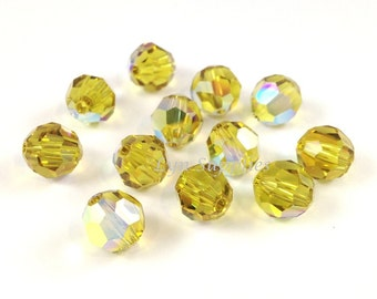 12pcs 8mm LIME AB 5000 Swarovski Crystal Faceted Round Beads