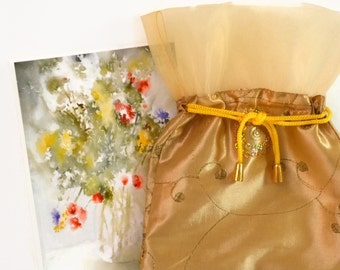 Little Gifts, Girlfriend Gift Idea for Her, Silk Pouch + Watercolor Painting Print, Flower Painting/Print,Yellow, Orange, Gold, Hostess Gift
