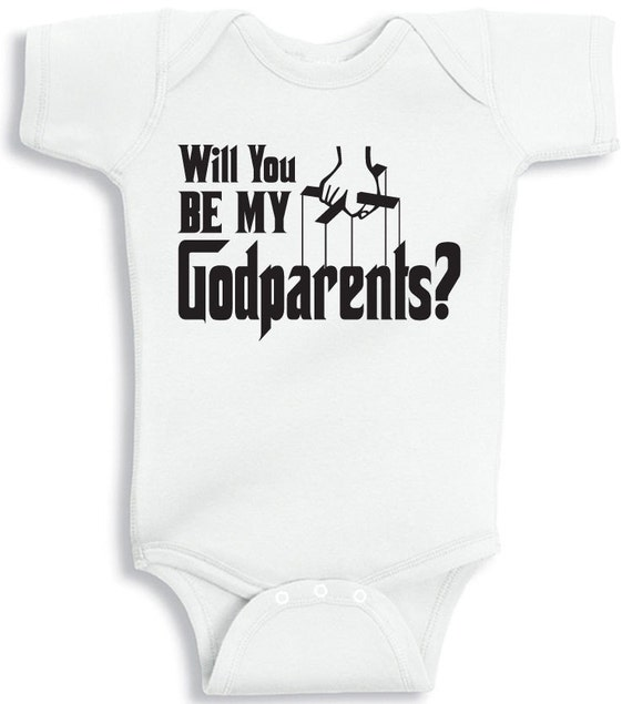 Will You Be My Godparents Baby Onesie Tee By