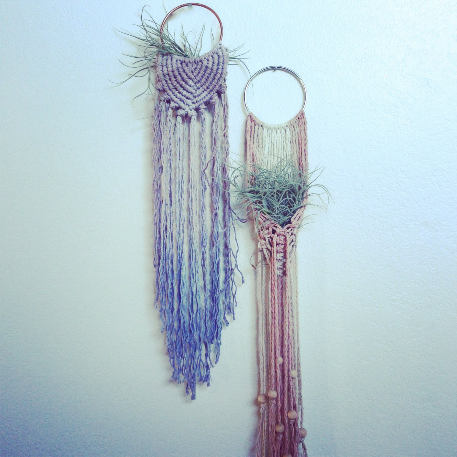 Macrame Air Plant Hangers Blue Grey Woven Ombre Or