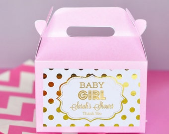 Pink and Gold Baby Shower Favor Boxes - Girl Baby Shower Party Favors - Baby Girl Favors - Baby Shower Favors Girl (EB2313FB) - set of 12