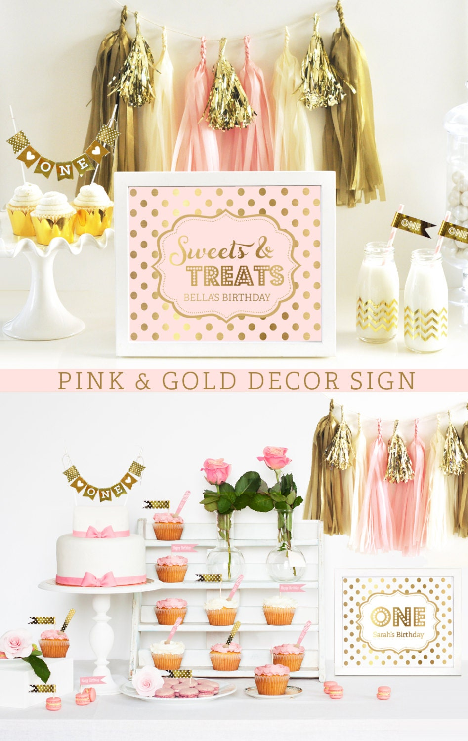 pink and gold decorations pink and gold first birthday pink. Black Bedroom Furniture Sets. Home Design Ideas