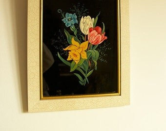 Vintage Flower painting, Floral Painting, home decor vintage, Wall Frames Gallery, 1970s