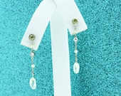 Platinum Dangle Earrings with Briolette Diamonds and Pearls