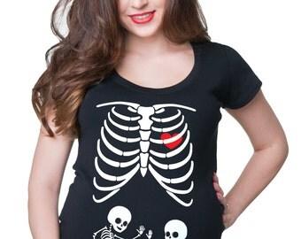 maternity tee shirt skeleton twins xray baby funny cute maternity tee shirt pregnancy t