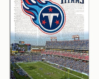 Tennessee Titans Dictionary Art Print Titans Stadium upcycled dictionary page book art print. Mancave gift Buy any 3 teams get 1 free!