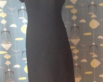 50s 60s dress wool lace cutout pencildress mad men