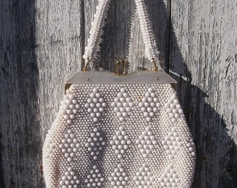 Vintage Purse, White Lucite Plastic Beaded Handbag, Evening Bag, Purse Made in Hong Kong, Vintage Accessories