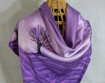 """Silk Scarf (Square) """"Purple Trees"""", Hand Painted Silk Charmeuse Scarf"""