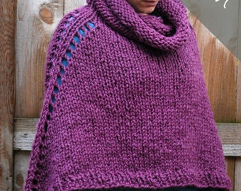 Knitting PATTERN - Oversized Poncho Cape - Chunky Cape - Easy