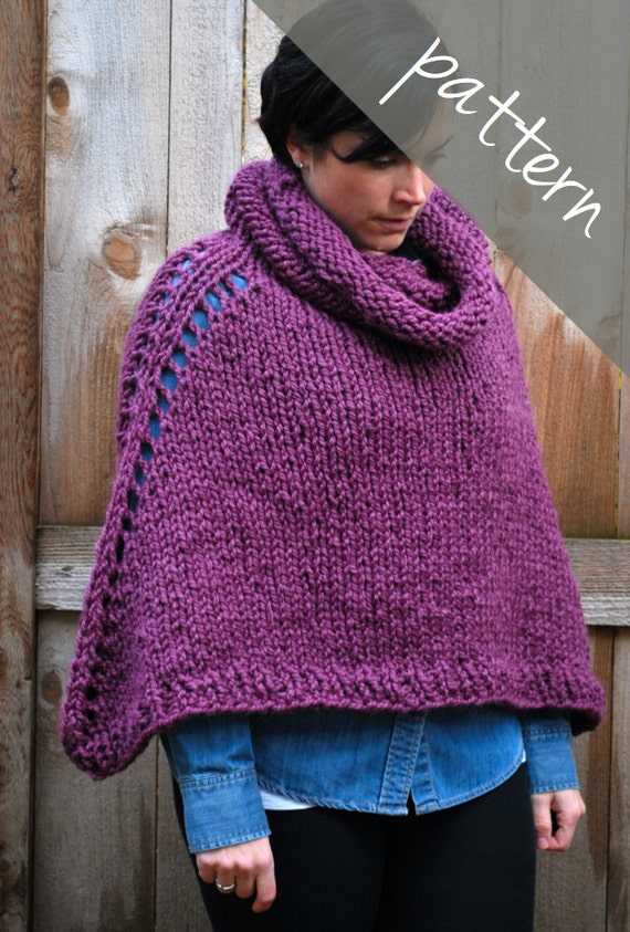 Knitting PATTERN Oversized Poncho Cape Chunky Cape Easy