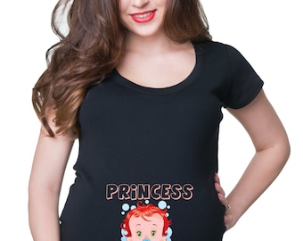 Pregnancy Top Princess In Progress T-Shirt Gift For Pregnant Woman Birth Announcement Tee Shirt