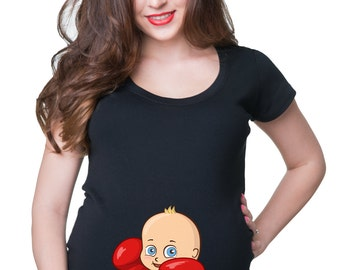 Boxer Baby Boy T-Shirt Gift For Pregnant Woman Maternity Tees